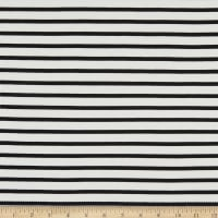Telio Yarn Dyed Bamboo Rayon Stretch French Terry Knit Sailor Stripe Ecru/Black