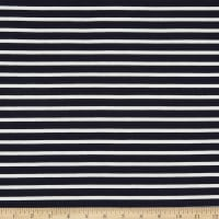 Telio Yarn Dyed Bamboo Rayon Stretch French Terry Knit Sailor Stripe Navy/Ecru