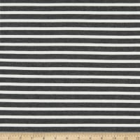 Telio Yarn Dyed Bamboo Rayon Stretch French Terry Knit Sailor Stripe Charcoal/Ecru