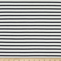 Telio Yarn Dyed Bamboo Rayon Stretch French Terry Knit Sailor Stripe Ecru/Navy