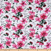 Fabric Merchants Rayon Challis Tropical Floral White/Hot Pink