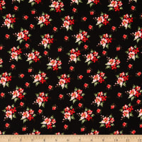Fabric Merchants Rayon Challis Floral Clusters Black/Red/Green