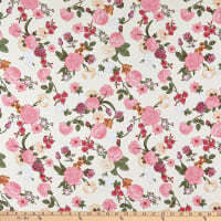 Fabric Merchants Rayon Challis Floral Ivory/Pink