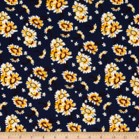 Fabric Merchants Stretch Liverpool Double Knit Wild Flowers Navy/Yellow