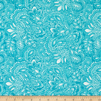 Fabric Merchants Double Brushed Stretch Jersey Knit Damask Print Teal