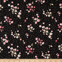 Fabric Merchants Double Brushed Stretch Jersey Knit Floral On Dots Black/Pink