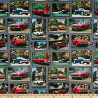 Michael Miller Minky MG Collection British Motor Cars MG Patchwork Taupe