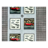 """Michael Miller Minky MG Collection British Motor Cars MG 24"""" Pillow Panel Taupe"""