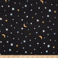 Michael Miller Minky Super Fred Galactic Black