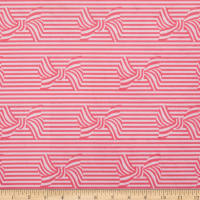 Michael Miller Minky Paris Valentine Bows and Stripes Coral