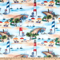 Michael Miller Minky By the Sea At The Beach Blue