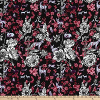 FreeSpirit Woodland Walk Fawn in Flowers Black