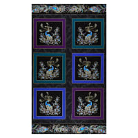 "Benartex Peacock Flourish Flourish Box 24"" Panel Metallic Black/Multi"