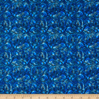 Benartex Peacock Flourish Rounded Squares Medium Blue