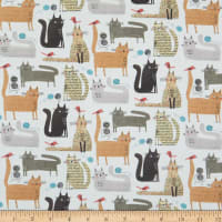 Contempo It's Raining Cats and Dogs Cats At Play White