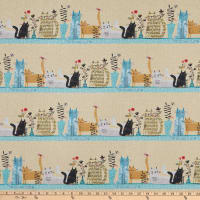 Contempo It's Raining Cats and Dogs Cats Together Stripe Natural/Ivory/Beige