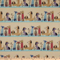 Contempo It's Raining Cats and Dogs Dogs Together Stripe Natural/Multi