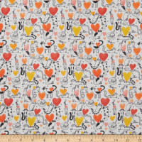 Contempo It's Raining Cats and Dogs Hearts and Cats Coral