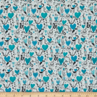 Contempo It's Raining Cats and Dogs Hearts and Cats Teal