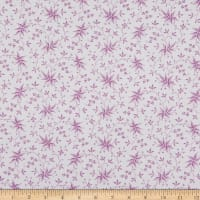 Benartex Lavender Fields Elise Leaves Pink/White