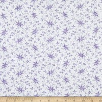 Benartex Lavender Fields Elise Leaves Purple/White