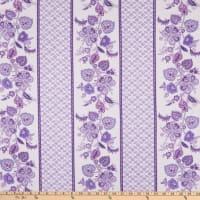 Benartex Lavender Fields Violette Stripe White