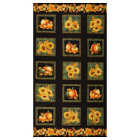 "Benartex Autumn Elegance Square 24"" Panel Black/Multit"