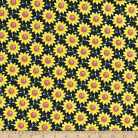 Kanvas Rise 'n Shine Scrolling Sunflowers Black