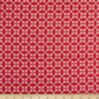Contempo Heart and Home Feathers Geo Red