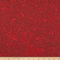 """P&B Textiles Alessia 108"""" Stems & Leaves Red"""