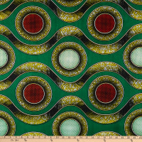 Shawn Pahwa African Ankara Print Broadcloth Lindani Green/Orange