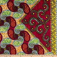 Shawn Pahwa African Ankara Print Broadcloth Ganyah Orange/Red