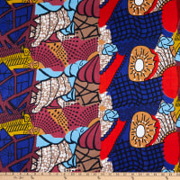 Shawn Pahwa African Ankara Print Broadcloth Sizamile Blue/Orange