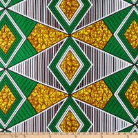 Shawn Pahwa African Ankara Print Broadcloth Bongiwe Green/Yellow