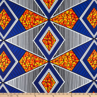 Shawn Pahwa African Ankara Print Broadcloth Bongiwe Blue/Orange