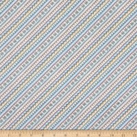 Maywood Studio Measure Twice Embroidered Bias Stripe Aqua/Yellow
