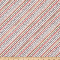 Maywood Studio Measure Twice Embroidered Bias Stripe Pink/Yellow
