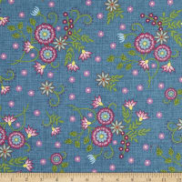 Maywood Studio Flower & Vine Floral Allover Blue