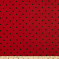 Cotton Print Polka Dots Red Black