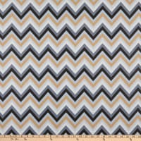 Cotton Print Chevron Grey