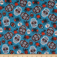 Cotton Sugar Skull Floral Teal