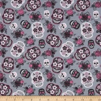 Cotton Sugar Skull Floral Pink