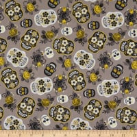 Cotton Sugar Skull Floral Grey