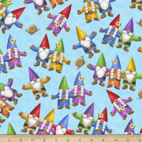 QT Fabrics Home Sweet Gnome Tossed Gnomes Blue