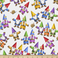 QT Fabrics Home Sweet Gnome Tossed Gnomes White