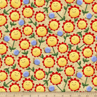 QT Fabrics Home Sweet Gnome Sunflowers Tan