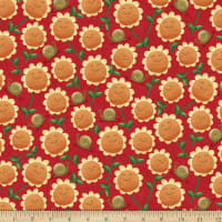 QT Fabrics Home Sweet Gnome Sunflowers Red