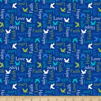 QT Fabrics Psalms Inspirational Words Navy