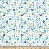 QT Fabrics Psalms Inspirational Words White