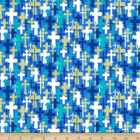 QT Fabrics Psalms Overlapping Crosses Blue